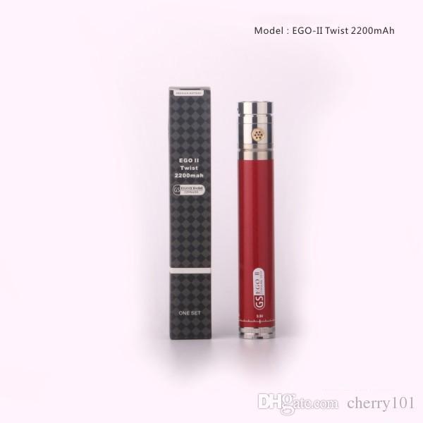gs ego ii twist battery 2200mah ego twist battery variable voltage 3.3v-4.8v 510/ego thread battery free dhl shipping