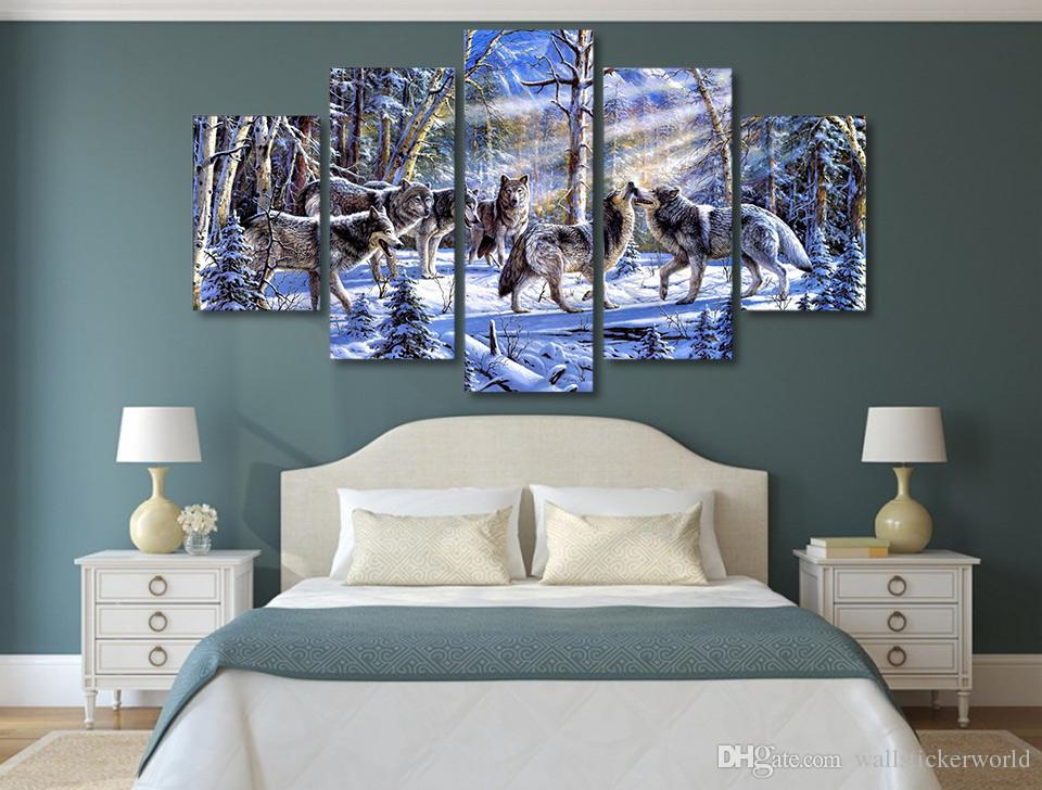 Framed Printed Wolves in the snow Painting Canvas Print room decor print poster picture canvas /ny-4978