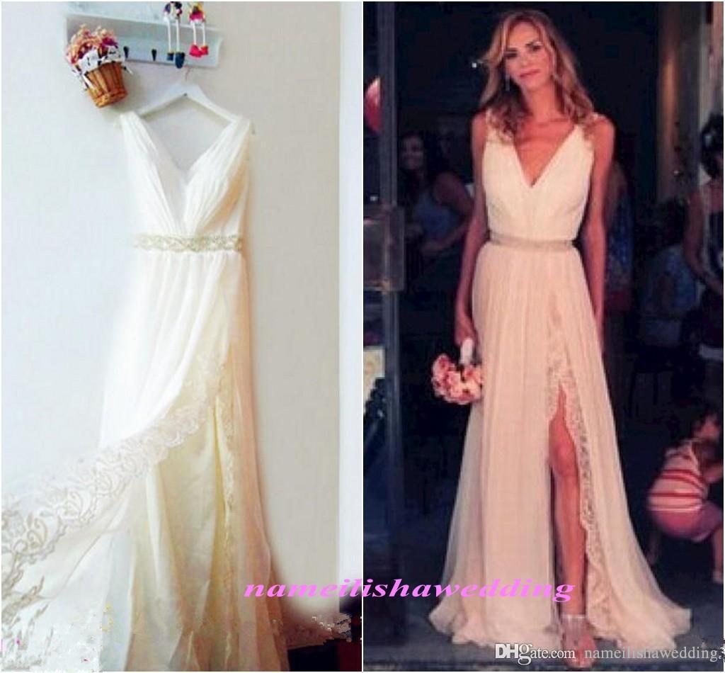 Großhandel Modest Bohemian Lace Brautkleider Sexy V Neck High Split ...