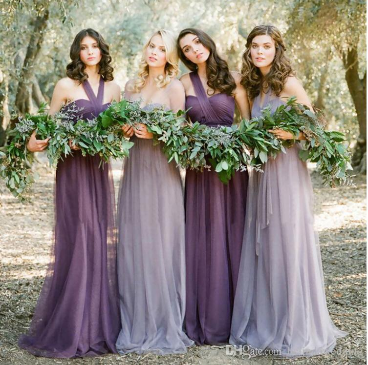 Purple Bridesmaid Dresses Long With Sleeves And Empire Waist ...