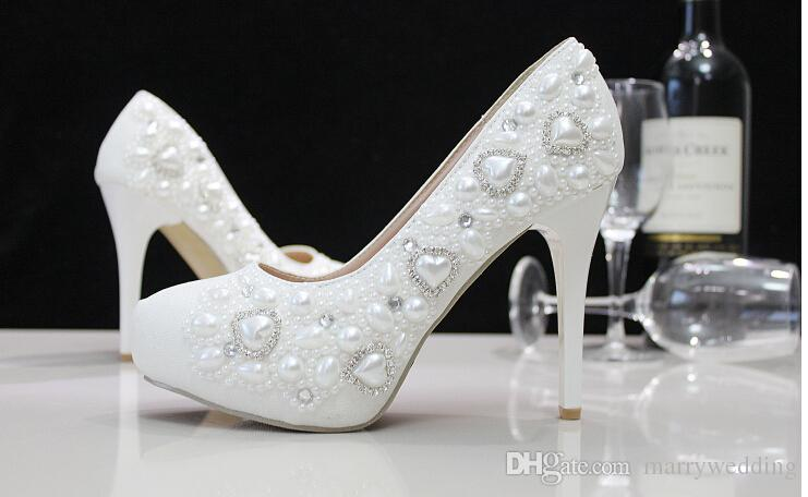 8d46216ca8d2 Cheap White Wedding Shoes with Heart Shape Style Pearl Shoes High Heel  Bridal Shoes Party Prom Shoes Bridal Accessories Pearls Wedding Shoes  Luxury Bridal ...