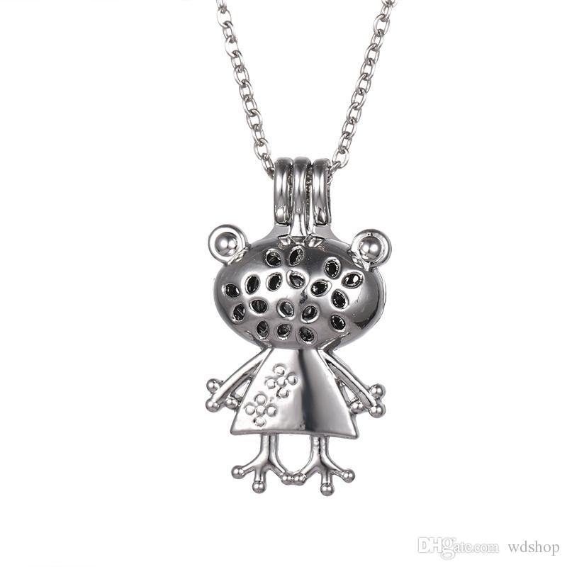Pretty Frog Princess Locket Necklace Cute Aromatherapy Oil Essential Diffuser Pendant Necklace Fashion Jewelry