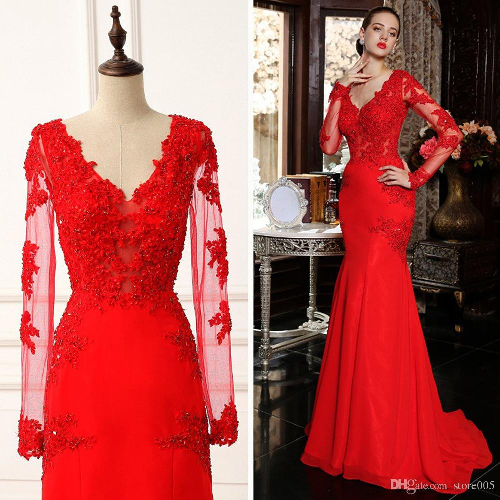 New Year Winter Red Long Sleeve Evening Gowns Lace Mermaid V Neck ...