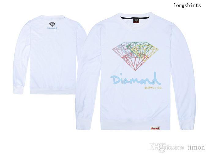 다이아몬드 공급 co T 셔츠 남성 디자이너 힙합 인쇄 긴팔 원피스 긴팔 티셔츠 코튼 티셔츠 무료 배송