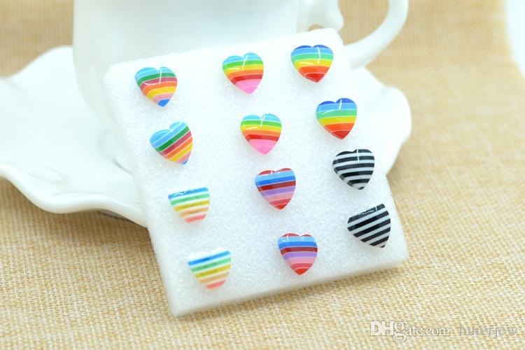 Orecchini le donne Fine Jewelry 2016 Nuove donne di moda gioielli personalità creativa orecchini orecchino di plastica arcobaleno le donne Orecchini