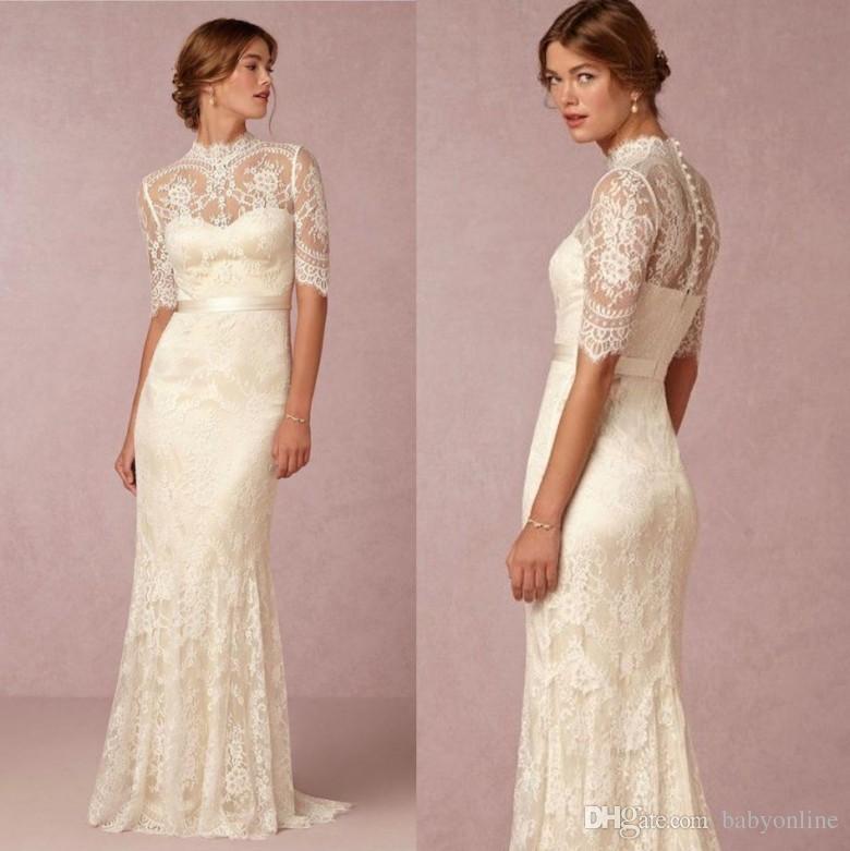 Modest High Neck Sheer Lace Wedding Dresses Half Sleeves Appliqued Satin  Belt Buttons Back Long Bridal Gowns For Summer Weddings 2018 Sleeveless  Wedding ... 98e1a86a820f