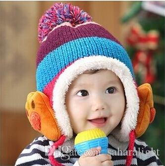 4f3995381f5 Winter Baby Toddler Boys Girls Winter Ear Flap Warm Hat Bebe Hat With Scarf Beanie  Cap Monkey Kids Winter Cap Children Headwear Straw Hats Crochet Hat From ...