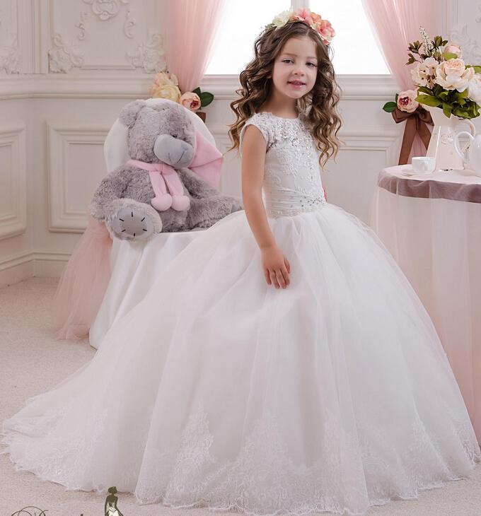 2019 dentelle perlée tulle robe de bal robes de demoiselle élégante enfant cru robes pageant robes communion robes de mariée fille fleur