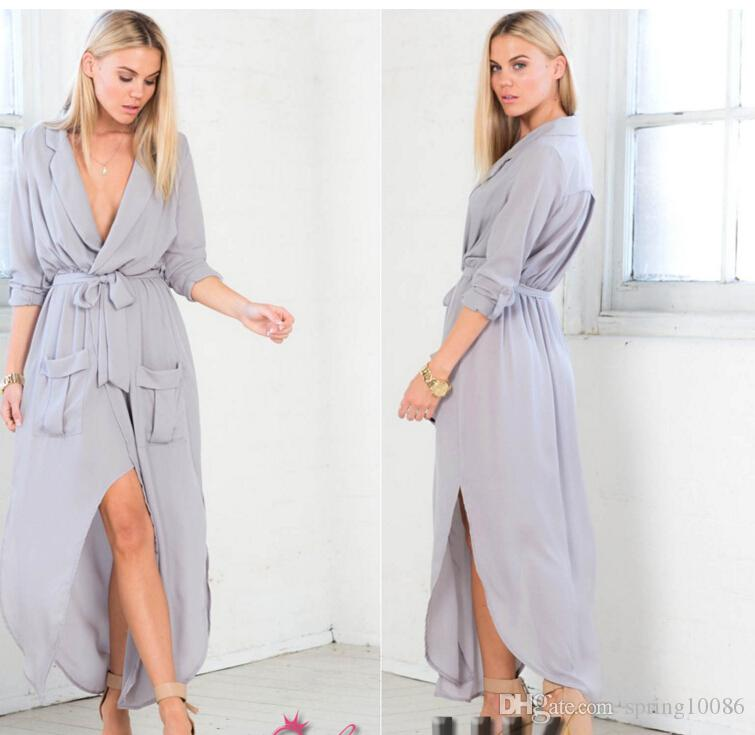 Hot Sales New Women Long Dress UK WOMENS SPLIT MAXI LONG DRESS SHIRT EVENING PARTY WRAP DRESS SIZE 8-16