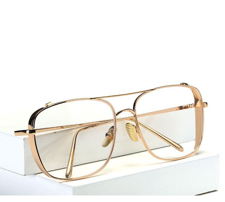 Erkekler için altın gözlük çerçeveleri marka optik gözlük kadın çerçeveleri temizle şeffaf gözlük metal çerçeve kare gözlük kadın şeffaf lens