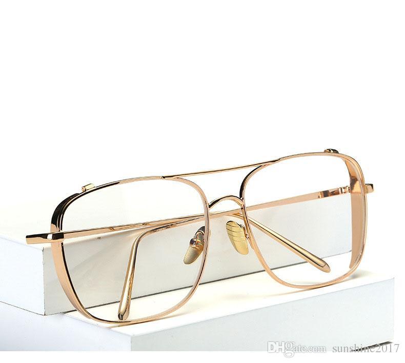 Compre Marcos De Gafas De Oro Para Hombres Marca Gafas Ópticas Mujeres  Marcos Claro Transparente Gafas De Metal Marco Cuadrado Gafas De Las  Mujeres Lente ... b8f225b24b