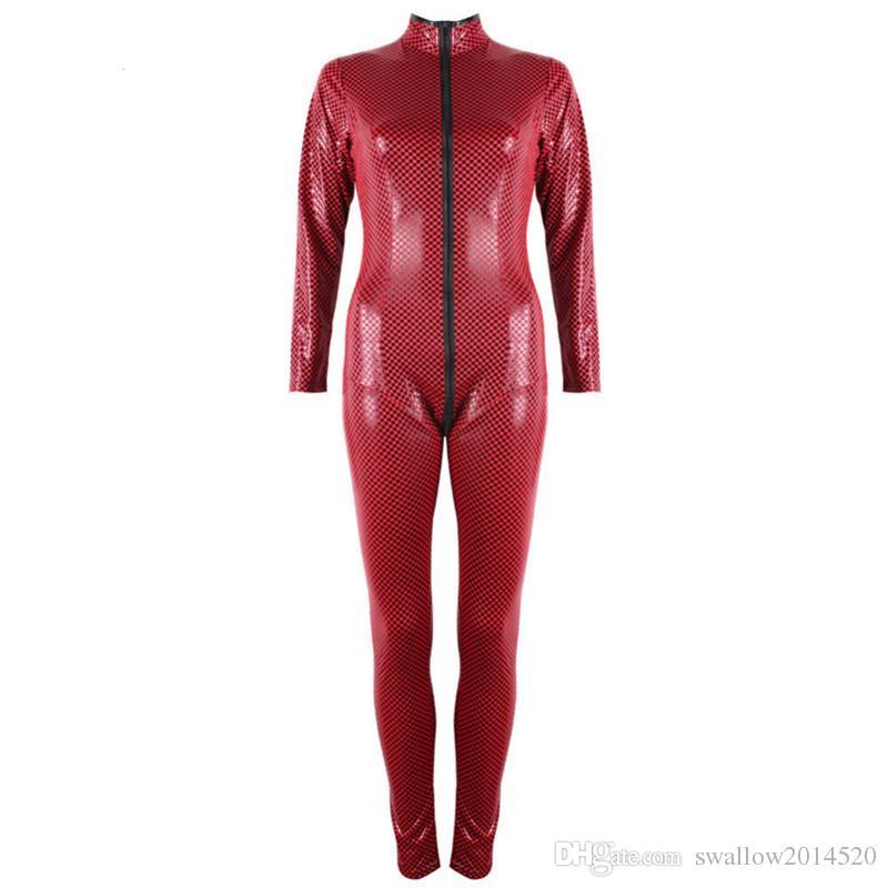 FREE SIZE Sexy Catsuit Lingerie Black Red Faux Leather Plaid Long Jumpsuit Zipper to Crotch Bodysuit Pole Dance Costume for Women