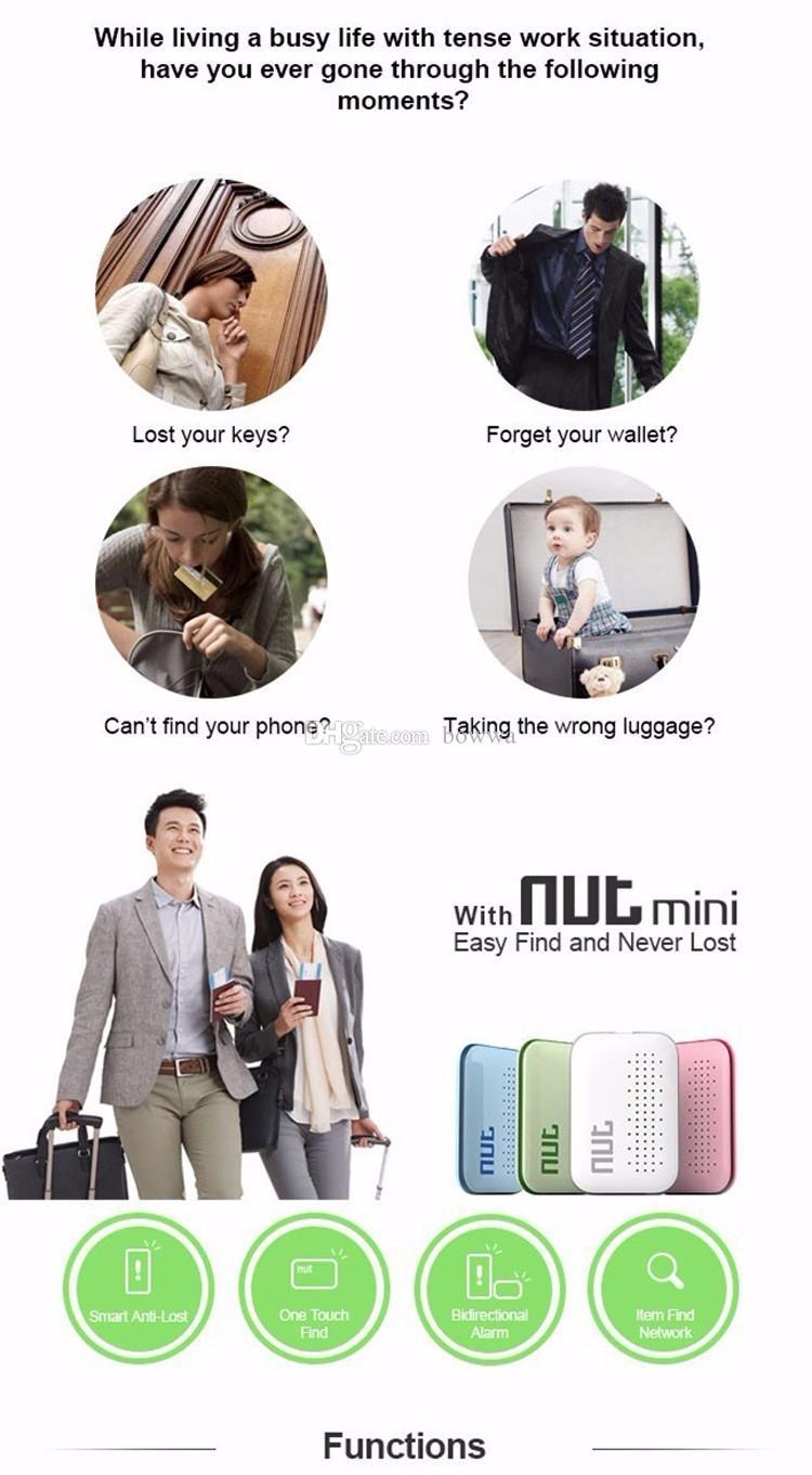 DHL Nut 3 Smart Finder Bluetooth clé de suivi sans fil Nut3 Mini étiquette de suivi pour enfant capteur d'alarme de capteur de clé GPS Locator VS Nut 2