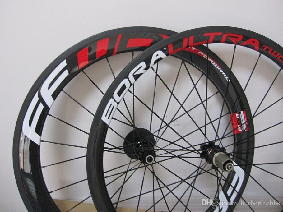 FFWD Wheelset 60mm 파워 웨이 빨리 앞으로 탄소 자전거 바퀴 붉은 광택 클린 치 관 모양의 도로 자전거 wheelset
