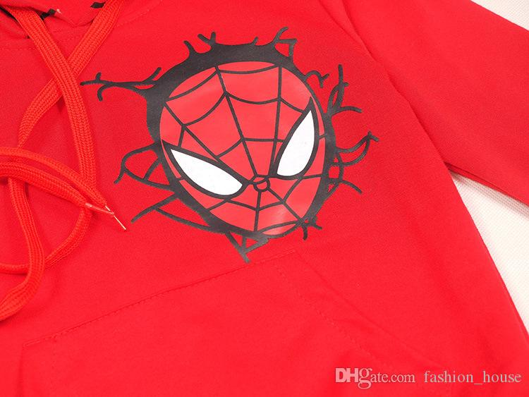DHL ÇOCUKLAR Popüler Spiderman Suits setleri çocuklar hoodies + pantolon 2 adet Set bebek erkek kız Sonbahar Kış Spiderman karikatür Kıyafetler 2 renkler