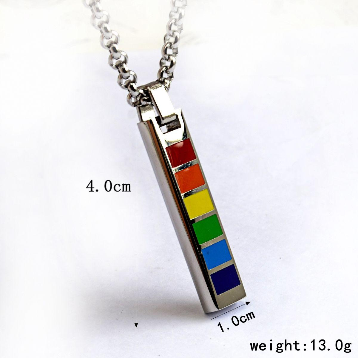 stainless distribution gay wholesale necklace containing jewelry product chain silver steel rectangular pendant rainbow