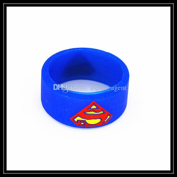Newest Superman Batman Captain America Flash Silicone Vape Band Engraved Silicon Beauty Decorative Ring For RTA RDA Atomizer Mechanical Mods