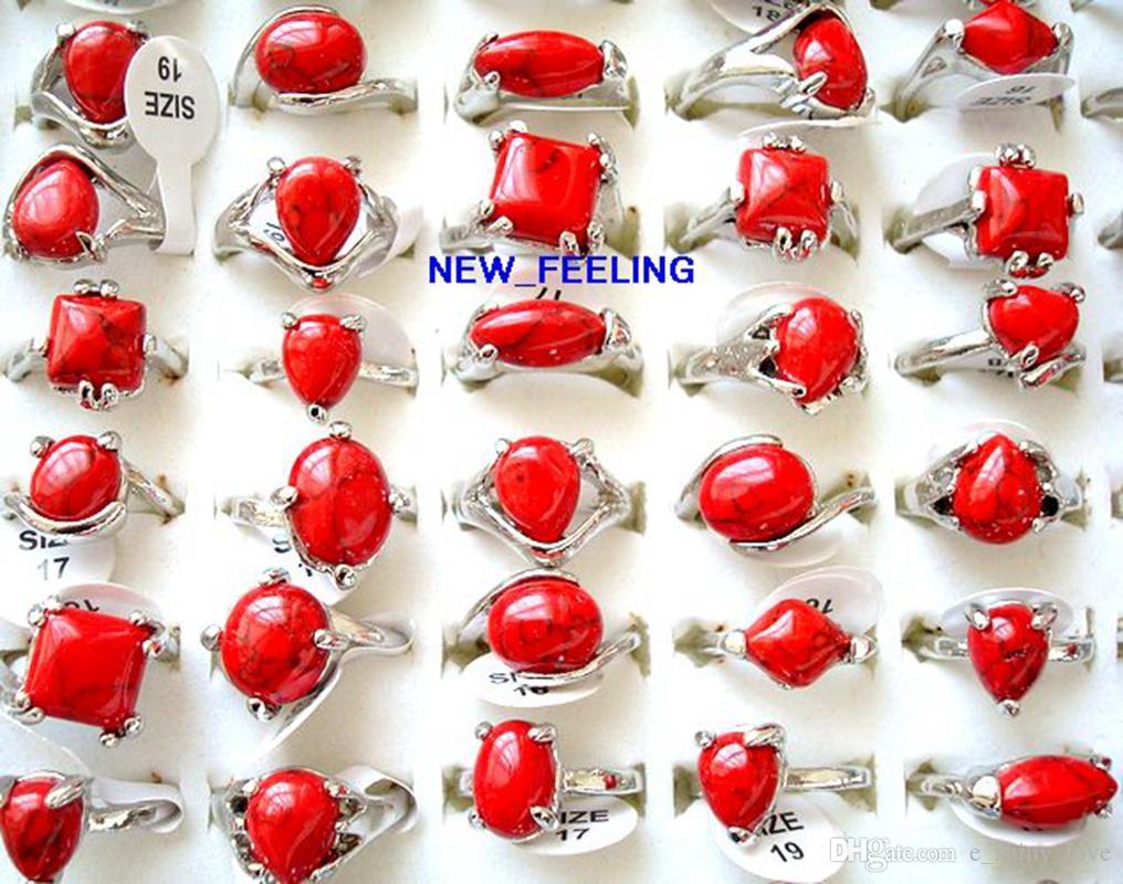 / 빈티지 모양 붉은 청록색 돌 반지 혼합 크기와 모양 여성 패션 쥬얼리 반지