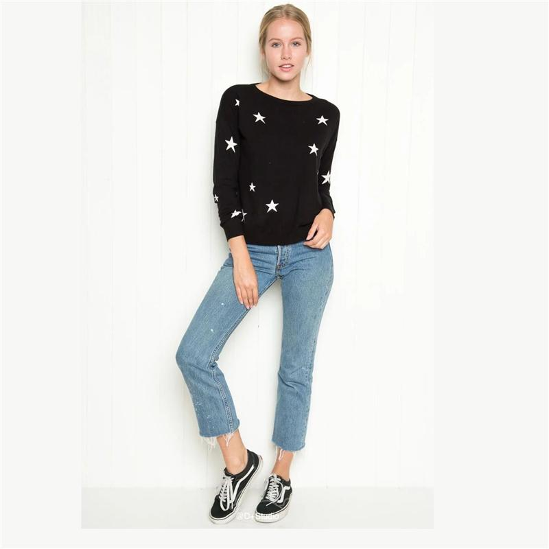 Best Quality Winter Knitted Sweater Stars Pattern Long Sleeve Winter Casual Women Sweaters And Pullovers Plus Size Autumn Robe