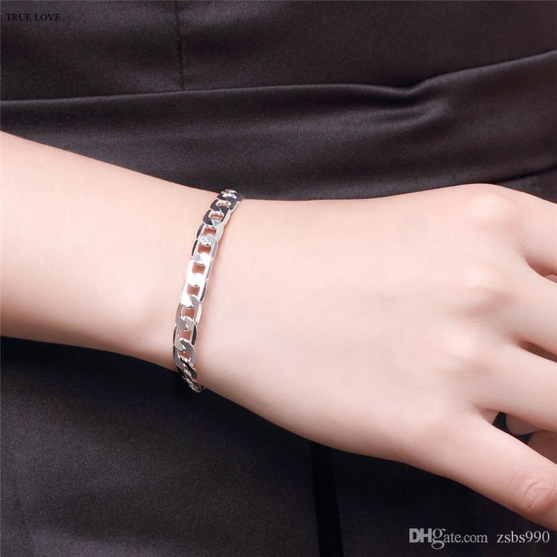 Fashion Men's Jewelry 925 sterling silver plated 6MM Figaro chain bracelet cool street style Low price wholesale