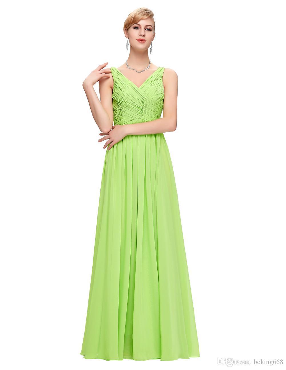 87cfe1f493c5 Acquista Abiti Da Ballo Lunghi Senza Maniche Verde 2018 Scollo Profondo Con  Scollo A V Increspature Prom Dress A Line Abiti Da Sera Formale Sexy ...