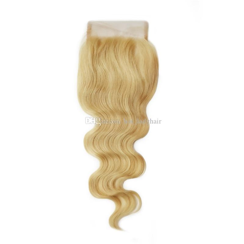 7A Grade Malaysian Blonde Hair With Closure 4X4 Free Middle Three Part Lace Closure With Bundles Cheap Body Wave Hair Weave With Closure