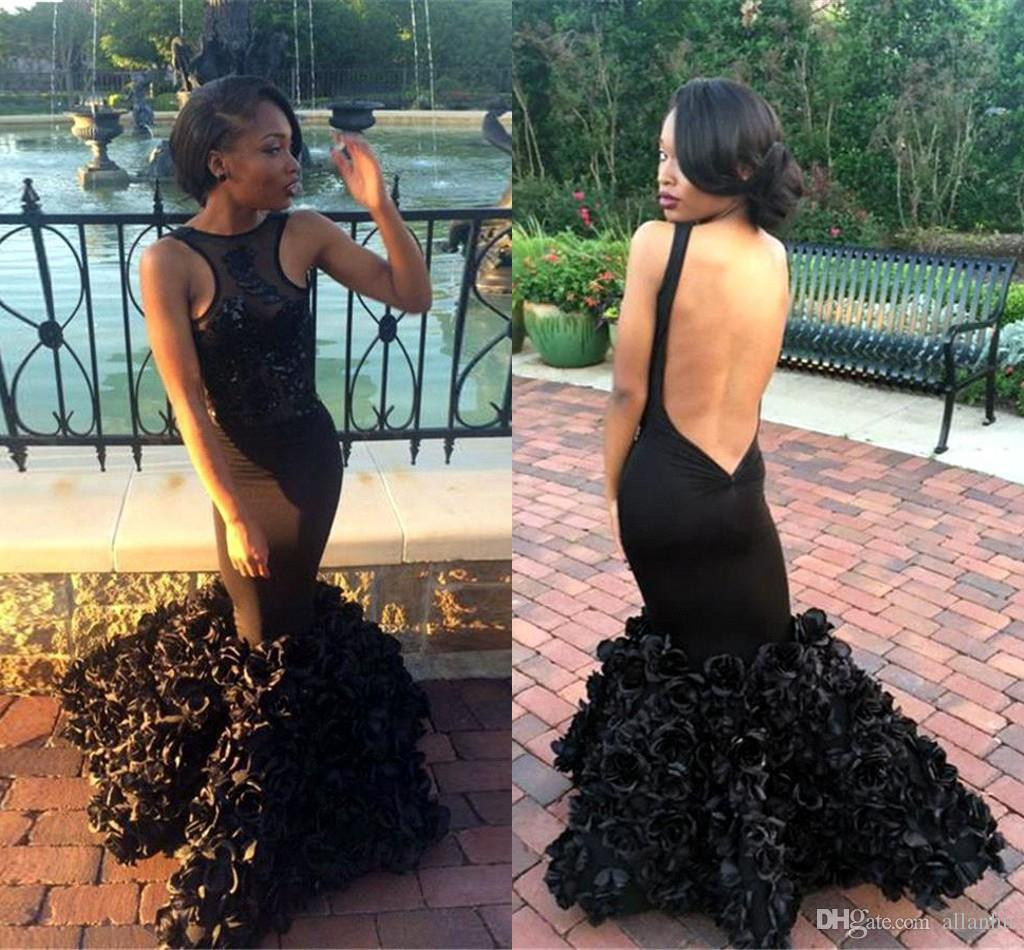 2017 Sexy Black Girls Evening Dresses Mermaid Halter Sheer Backless Prom Dresses with Rose Floral Ruffles Appliques Celebrity Dresses