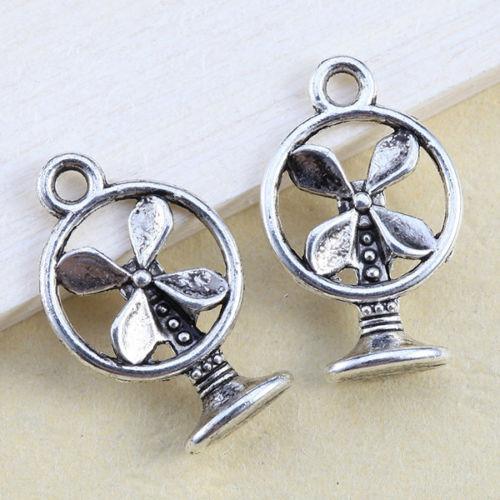 200 Stücke Tibetischen Silber Fan Charms Anhänger Für Schmuck Machen Armband 18x11,5mm