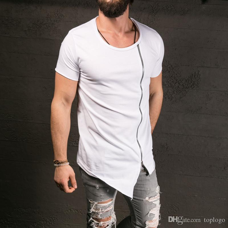 2017 New Men'S Fashion Show Stylish Long T Shirt Asymmetrical Side ...