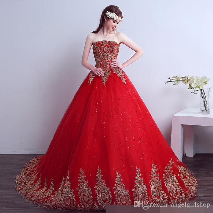 Vintage Lace Red Wedding Dresses 2017 Vintage Lace Red Wedding Dresses Long Train Plus Size Ball Gown Robe de Mariee Cheap
