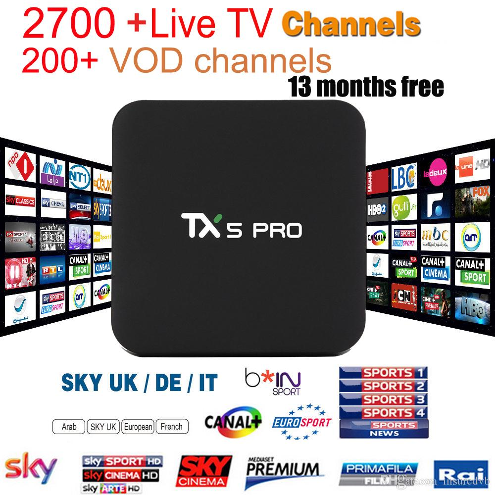 TX5 pro 2+16GB Android TV BOX with EVDTV IPTV ARABIC Greek Turkish French Italy France UK USA Brazil Latin IPTV box KD 17.3 h.265 4k Video
