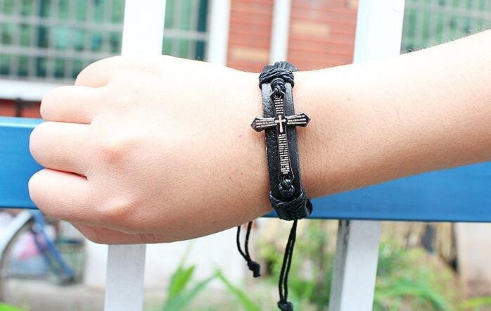 Antique Cross Bracelet Punk Leather Band Bracelets Adjustable PU Wrap Bangle Charm Bracelet for Man Gift