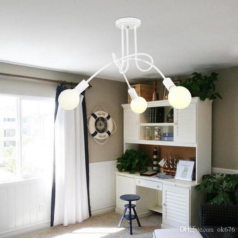 Weinlese-industrielles Dachboden-Leuchter-Deckenleuchte-einfaches Innenlampen-Restaurant beleuchtet schwarze / weiße Farbe Freies Verschiffen