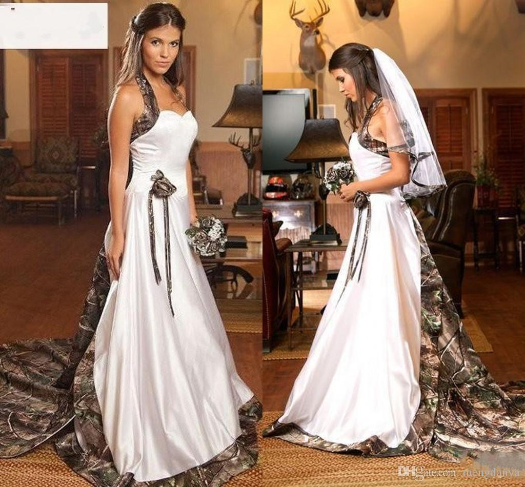 4016d4e4c59a0 Discount Vintage Country Realtree Camo White Wedding Dresses 2019 Halter Sweep  Train Backless A Line Cheap Plus Size Garden Bridal Gowns Free Veil 52 Gown  ...