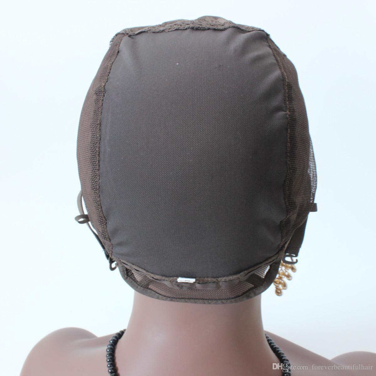 jüdische Perücke Kappe braun Farbe S / M / L Glueless Perücke Caps für die Herstellung von Perücken Stretch Lace Weben Cap verstellbare Straps Medium Brown