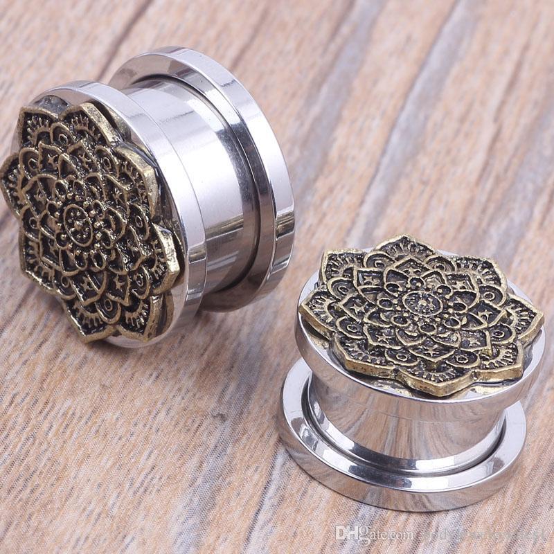 Vissez les bouchons de tunnel de chair en argent avec un nouveau style de fleur brozen pour facotry pas cher bouchons de vente piercing