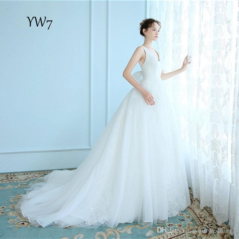 2017 Real Image Elegant Tulle Wedding Dresses V Neck Lace Appliques ...