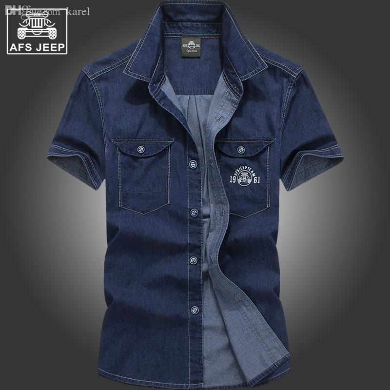 964e0f4315c 2019 Wholesale Afsjeep Man Thin Cotton Denim Shirt With Short Sleeves In  Summer With Standing Collar Half Sleeve Shirt Loose Big Size Shirt From  Karel