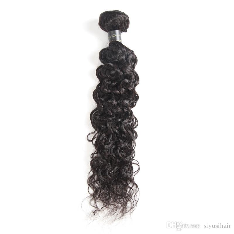 Paquetes de pelo humano de la Virgen Brasileño de Indio Malasia peruano Sin procesar Rizado Flojo Onda profunda Agua Body Wave Pelo recto Extensiones