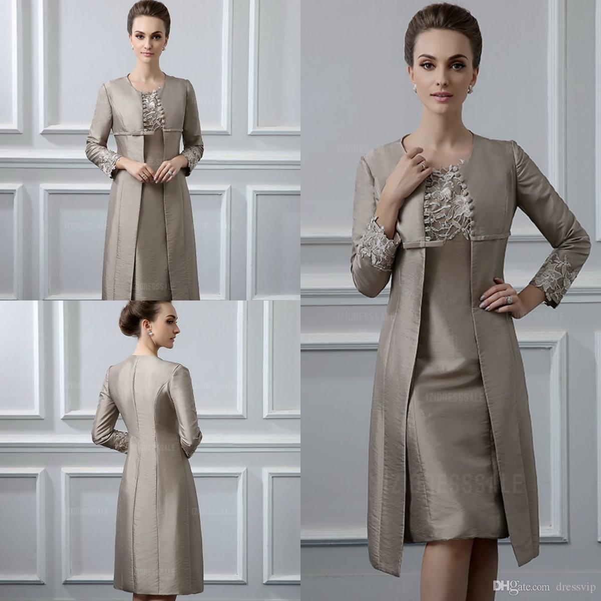 Two Piece Mother Of The Bride Dresses With Jacket Taffeta Lace Applique  Bead Sheath Knee Length Mother Of The Groom Dress Wedding Guest Gown Mother  Of The ... 7f26bd172cf9