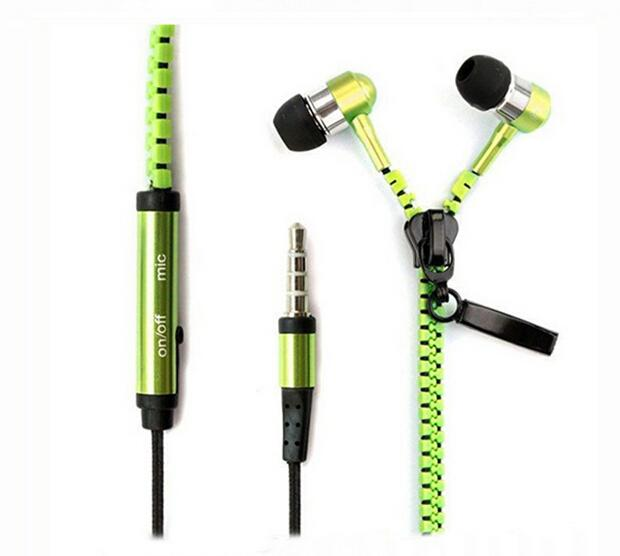 Metal Zipper Earphones Headphones Stereo Bass Headset In Ear with Mic 3.5mm Jack Earbuds for iPhone Samsung MP3 High Quality
