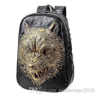 06ef579978 Factory Sales Brand Bag Street Fashion Backpack Backpack Bag Wolf 3D Stereo  Student Korean Men And Women Backpack Portable Shoulder Rivet Laptop  Backpack ...