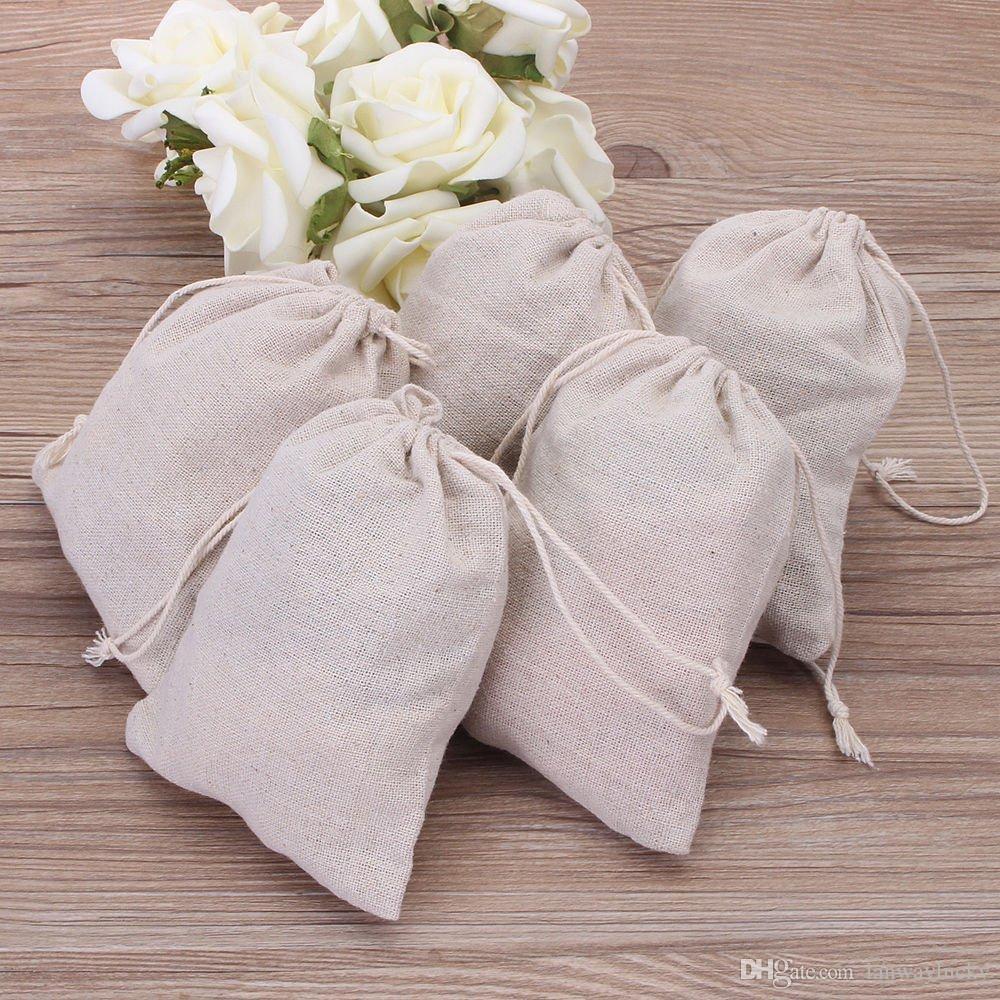 Kleine Musselin Drawstring Geschenk Taschen Baumwolle Leinen Vintage Schmuck Beutel Verpackung Fall Wedding Favor Halter viele Größen Jute Säcke Custom Logo