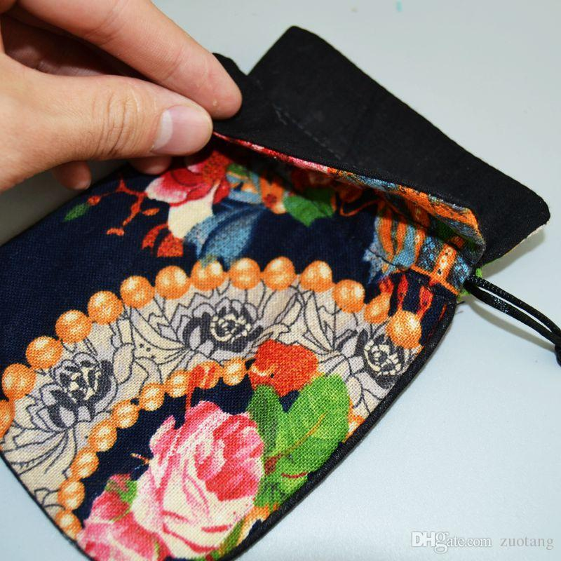 Elegant Small Cotton Linen Printed Jewelry Pouch Drawstring Chinese style Gift Packaging Decorative Coin Storage Tea Candy Favor Bags