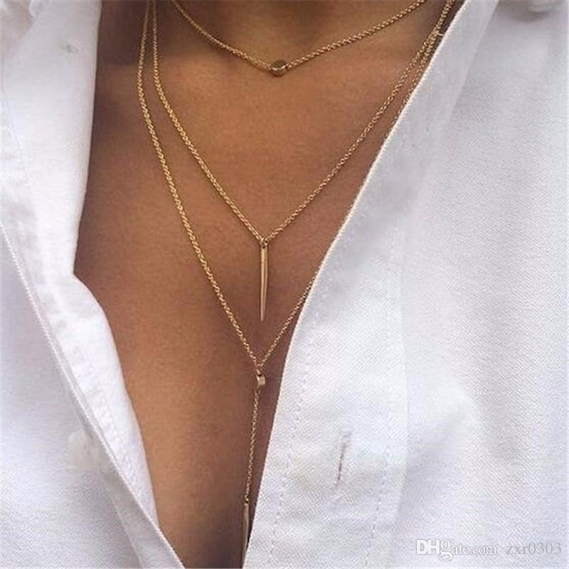 Женщины слоистых цепи ожерелья подвески тонкий многослойный ожерелье очарование цепи ожерелье колье bijoux тела Boho ювелирные изделия