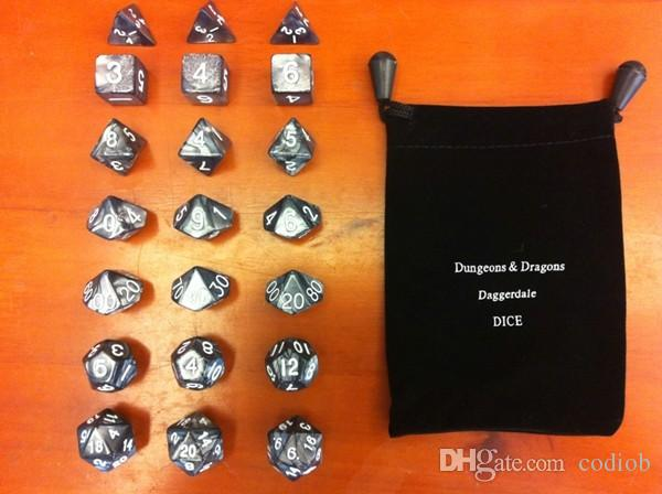 Polyhedral Dice Set * D4 D6 D8 D12 D20 D100-9 D1000-90 Dungeons & Dragons Daggerdale Good Price High Quality #D7