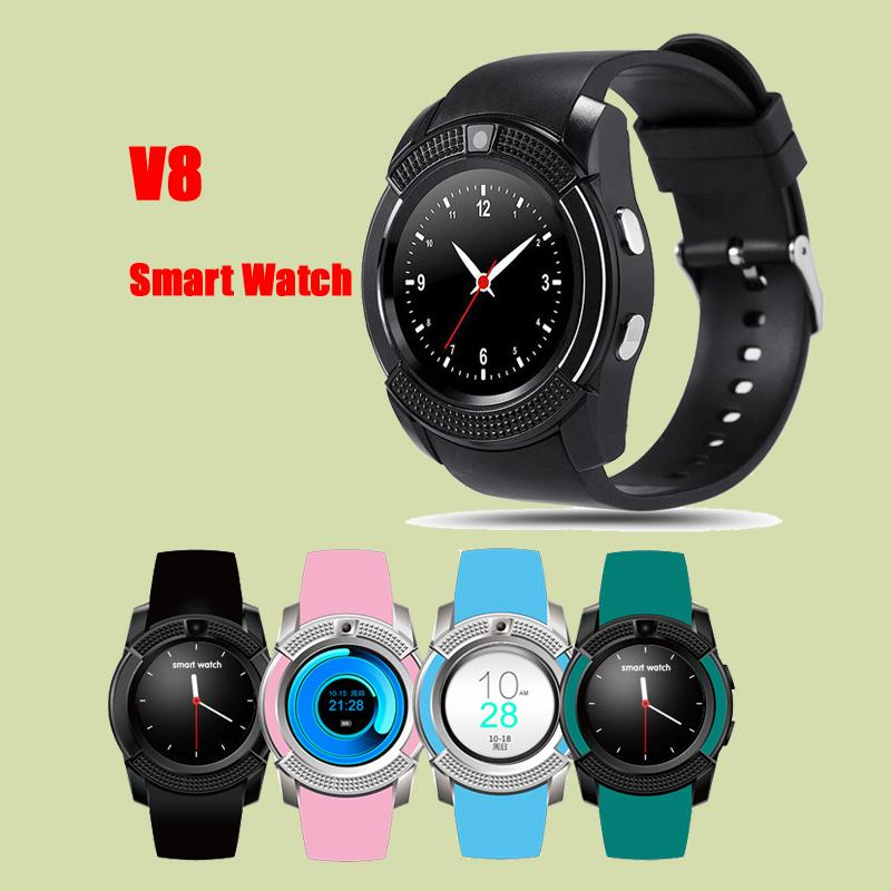 V8 Smart Watch V8 Bluetooth Watches with 0.3M Camera MTK6261D Smartwatch for android phone Micro Sim TF card DHL Free OTH281