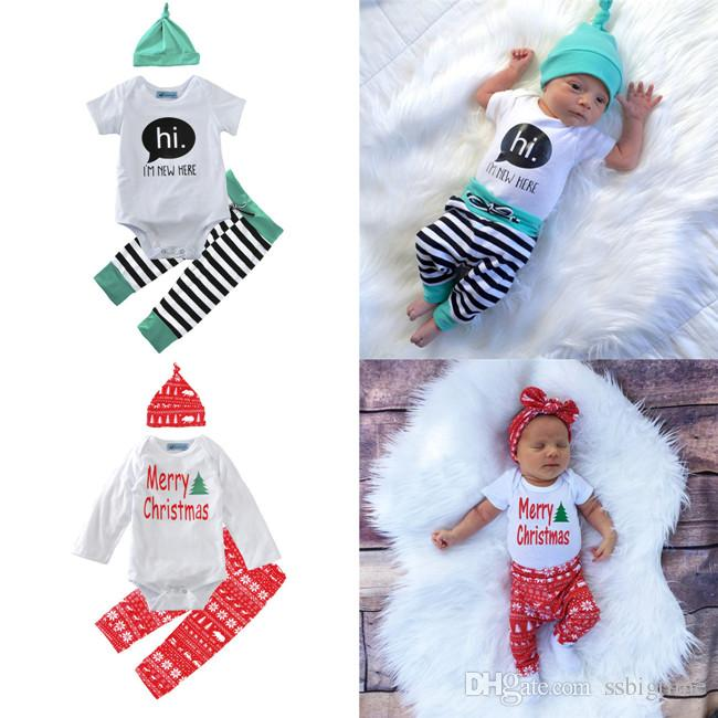 online cheap christmas boys girls baby rompers clothing sets santa baby onesies pants cap set summer toddler pajamas leggings santa clothes suits by