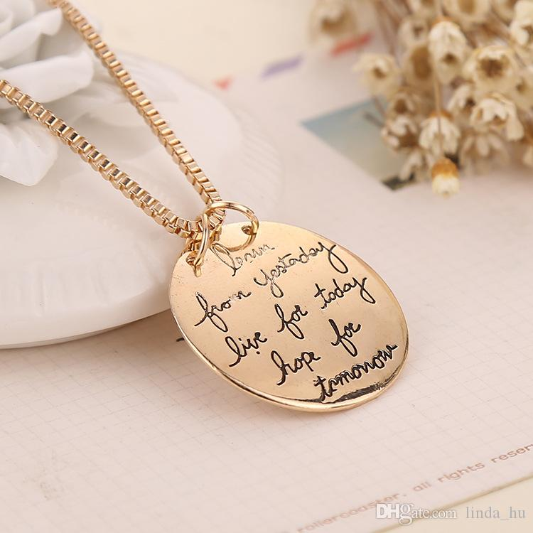 European and American jewelry circular letter tag live the life you love love heart pendant necklace women jewelry