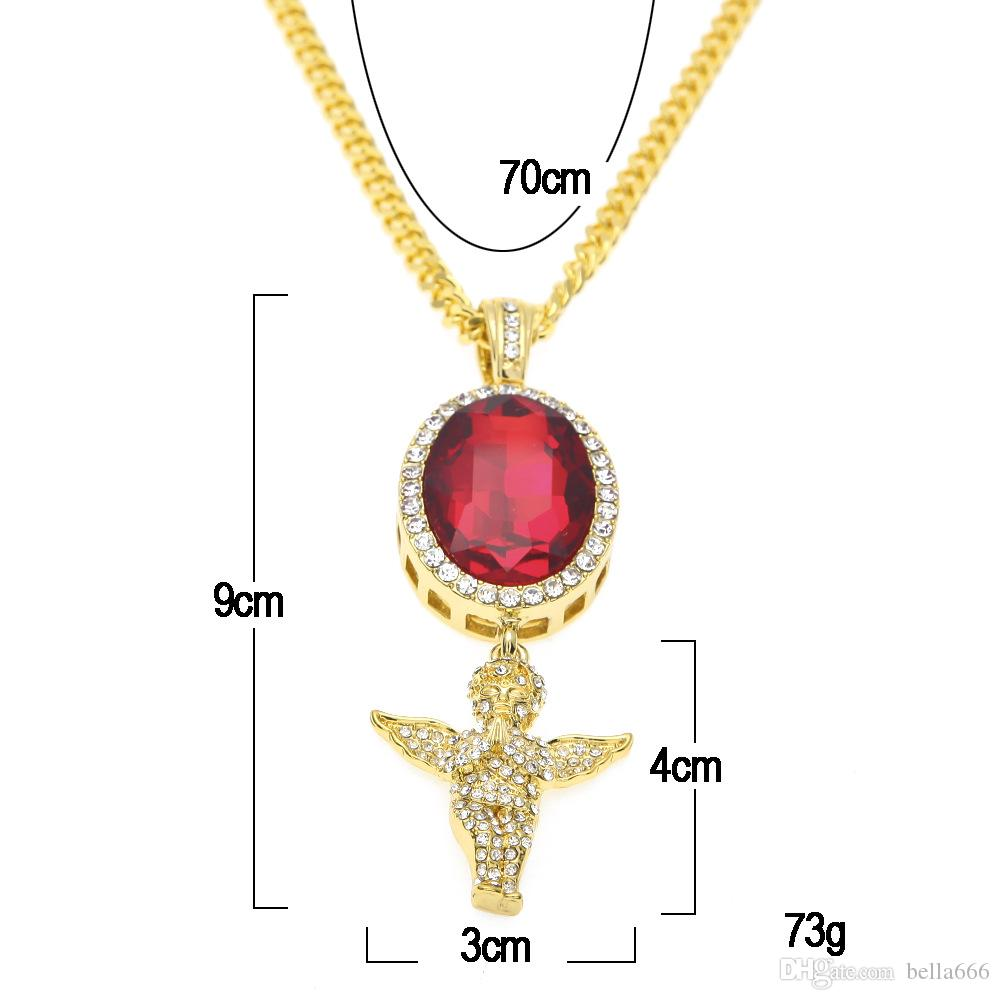 Mens Hip Hop Red blue black Gem Angel Pendant Necklace Set Gold color Micro Ruby Necklaces Women Rhinestone Charm Rapper Jewelry Gift